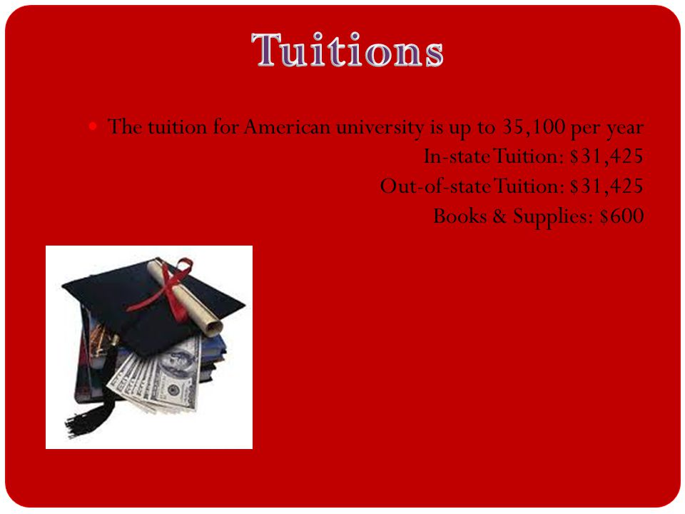 The tuition for American university is up to 35,100 per year In-state Tuition: $31,425 Out-of-state Tuition: $31,425 Books & Supplies: $600