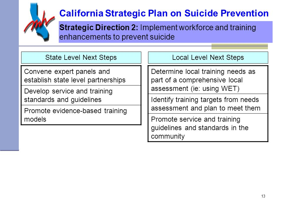 13 Strategic Direction 2: Implement workforce and training enhancements to prevent suicide State Level Next Steps California Strategic Plan on Suicide Prevention Convene expert panels and establish state level partnerships Develop service and training standards and guidelines Promote evidence-based training models Determine local training needs as part of a comprehensive local assessment (ie: using WET) Identify training targets from needs assessment and plan to meet them Promote service and training guidelines and standards in the community Local Level Next Steps