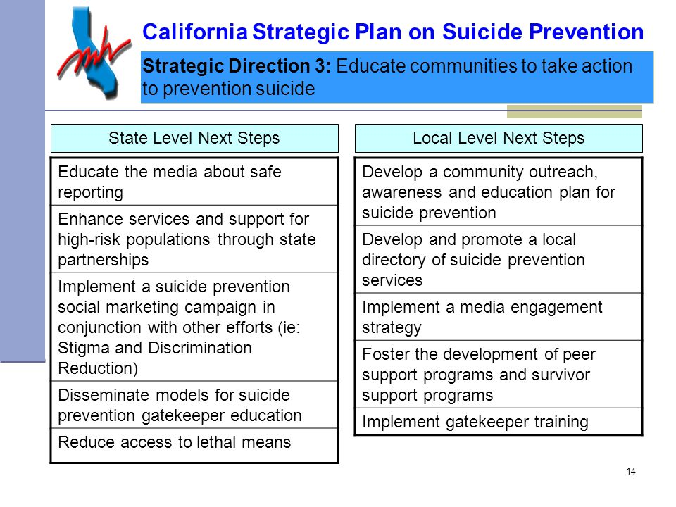 14 Strategic Direction 3: Educate communities to take action to prevention suicide State Level Next Steps California Strategic Plan on Suicide Prevention Educate the media about safe reporting Enhance services and support for high-risk populations through state partnerships Implement a suicide prevention social marketing campaign in conjunction with other efforts (ie: Stigma and Discrimination Reduction) Disseminate models for suicide prevention gatekeeper education Reduce access to lethal means Develop a community outreach, awareness and education plan for suicide prevention Develop and promote a local directory of suicide prevention services Implement a media engagement strategy Foster the development of peer support programs and survivor support programs Implement gatekeeper training Local Level Next Steps