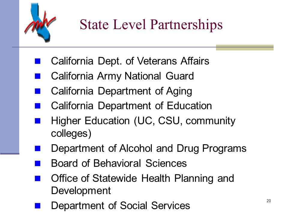 20 State Level Partnerships California Dept.
