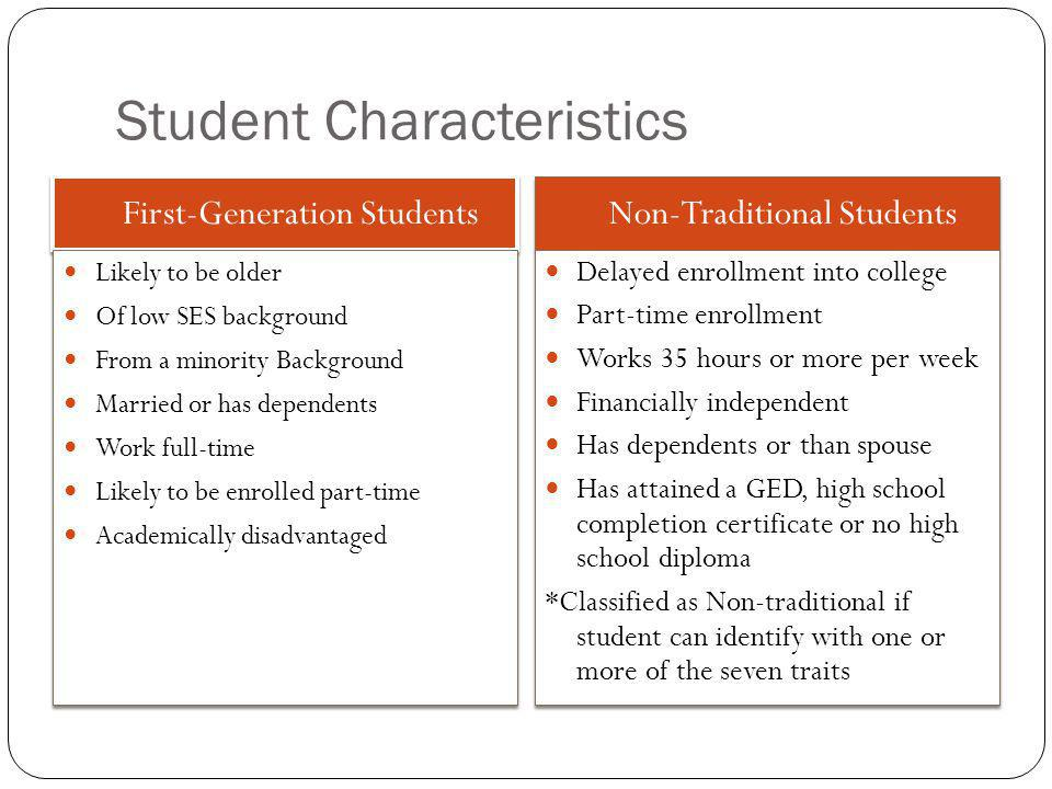 Student Characteristics First-Generation Students Non-Traditional Students