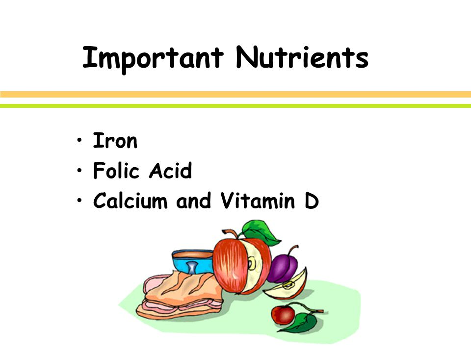 Important Nutrients Iron Folic Acid Calcium and Vitamin D