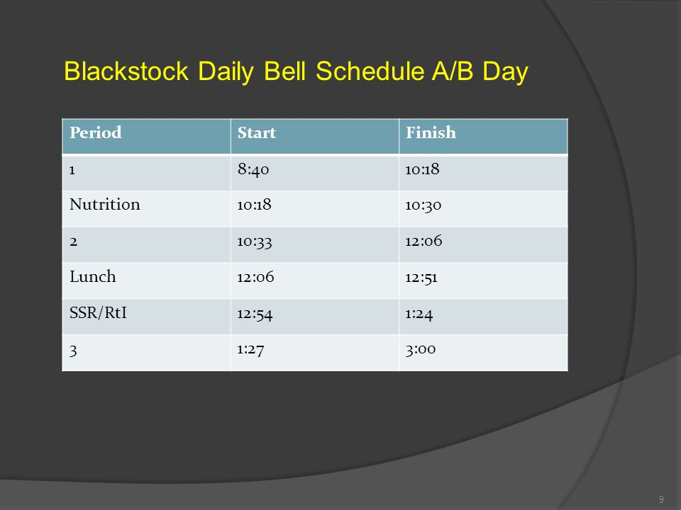 DAILY SCHEDULE Blackstock opens its doors at 7:50 a.m. Students who are not in their assigned seats at 8:40 are marked tardy (**tardiness will affect