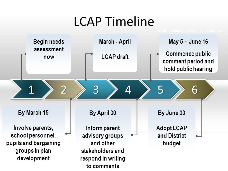 LCAP Timeline Begin needs assessment now March - April LCAP draft May 5 – June 16 Commence public comment period and hold public hearing By March 15 Involve parents, school personnel, pupils and bargaining groups in plan development By April 30 Inform parent advisory groups and other stakeholders and respond in writing to comments By June 30 Adopt LCAP and District budget © 2014 School Services of California, Inc.