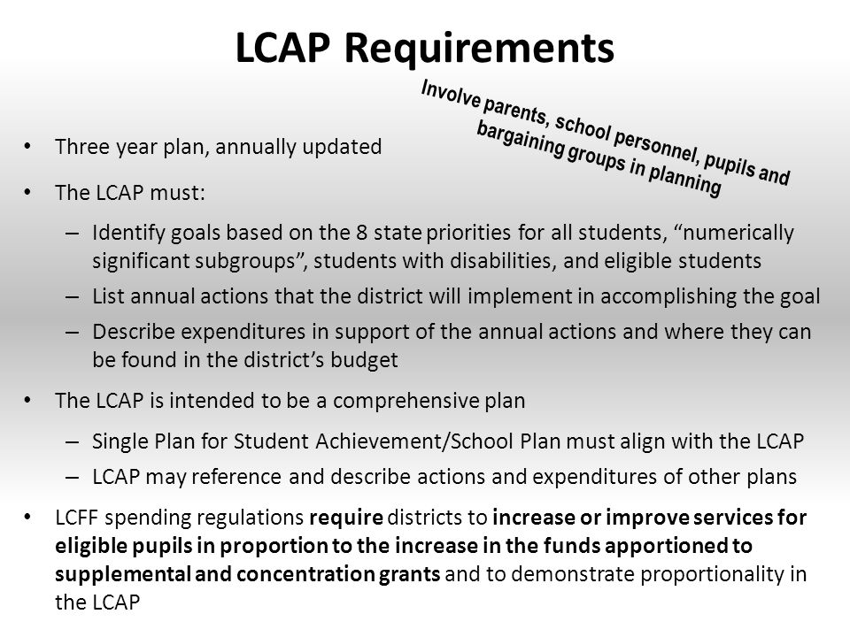 LCAP Requirements Three year plan, annually updated The LCAP must: – Identify goals based on the 8 state priorities for all students, numerically significant subgroups , students with disabilities, and eligible students – List annual actions that the district will implement in accomplishing the goal – Describe expenditures in support of the annual actions and where they can be found in the district's budget The LCAP is intended to be a comprehensive plan – Single Plan for Student Achievement/School Plan must align with the LCAP – LCAP may reference and describe actions and expenditures of other plans LCFF spending regulations require districts to increase or improve services for eligible pupils in proportion to the increase in the funds apportioned to supplemental and concentration grants and to demonstrate proportionality in the LCAP © 2014 School Services of California, Inc.