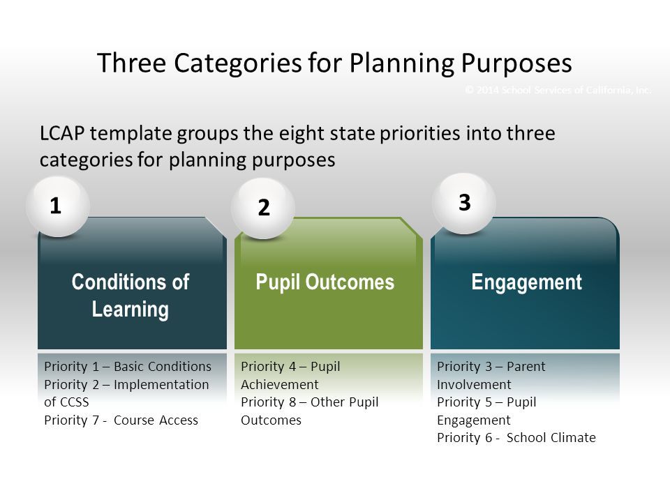 Three Categories for Planning Purposes LCAP template groups the eight state priorities into three categories for planning purposes 123 Conditions of Learning Pupil OutcomesEngagement © 2014 School Services of California, Inc.