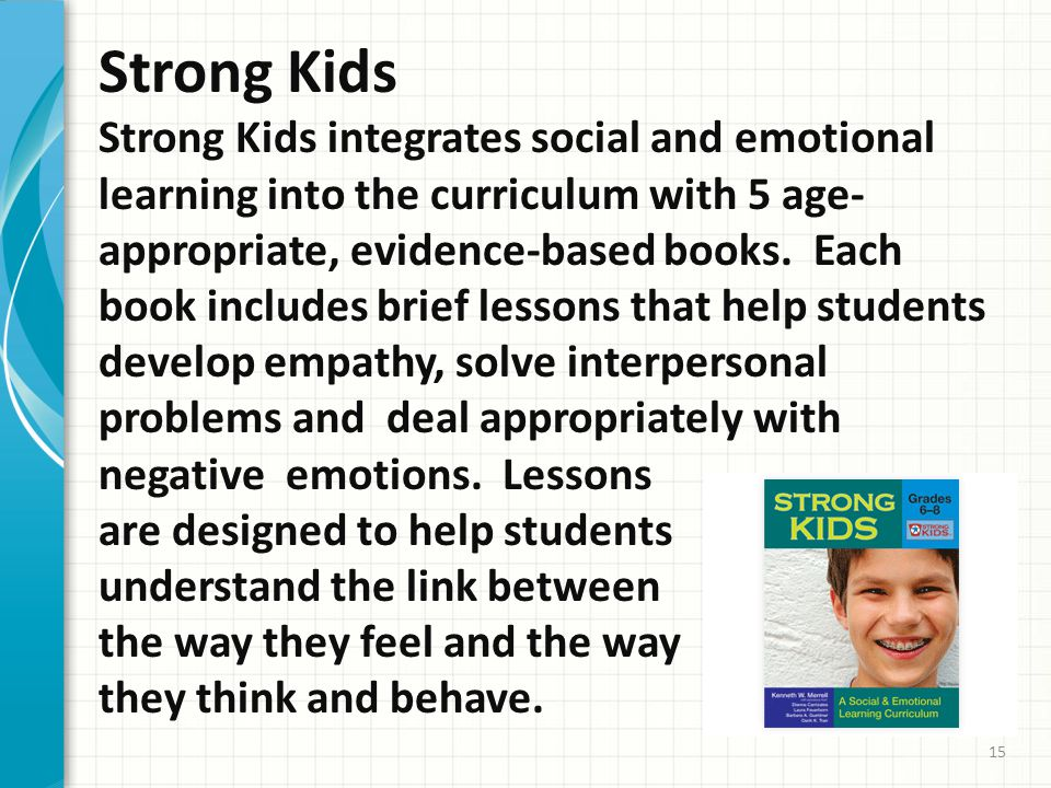 Strong Kids Strong Kids integrates social and emotional learning into the curriculum with 5 age- appropriate, evidence-based books.