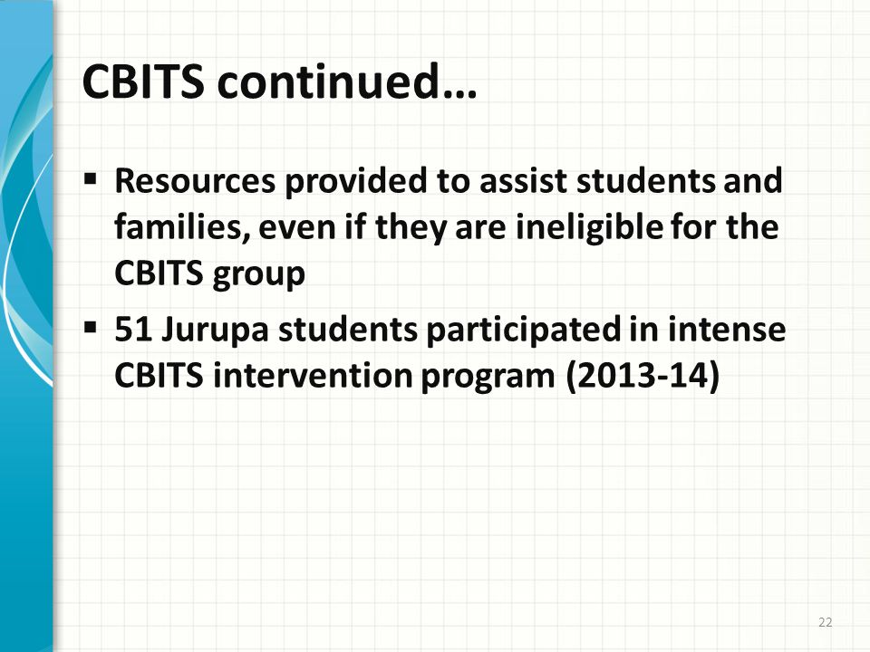 CBITS continued…  Resources provided to assist students and families, even if they are ineligible for the CBITS group  51 Jurupa students participated in intense CBITS intervention program (2013-14) 22