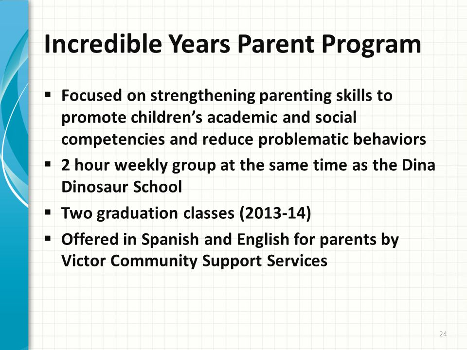 Incredible Years Parent Program  Focused on strengthening parenting skills to promote children's academic and social competencies and reduce problematic behaviors  2 hour weekly group at the same time as the Dina Dinosaur School  Two graduation classes (2013-14)  Offered in Spanish and English for parents by Victor Community Support Services 24
