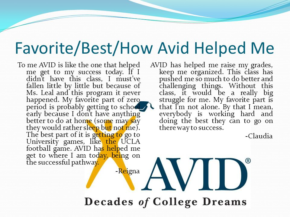 Favorite/Best/How Avid Helped Me To me AVID is like the one that helped me get to my success today.