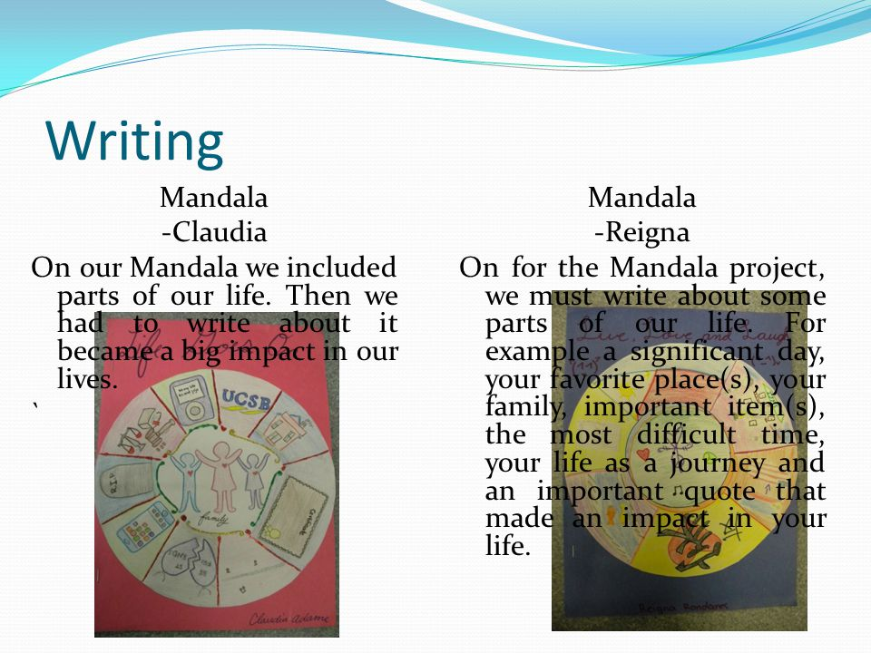 Writing Mandala -Reigna On for the Mandala project, we must write about some parts of our life.