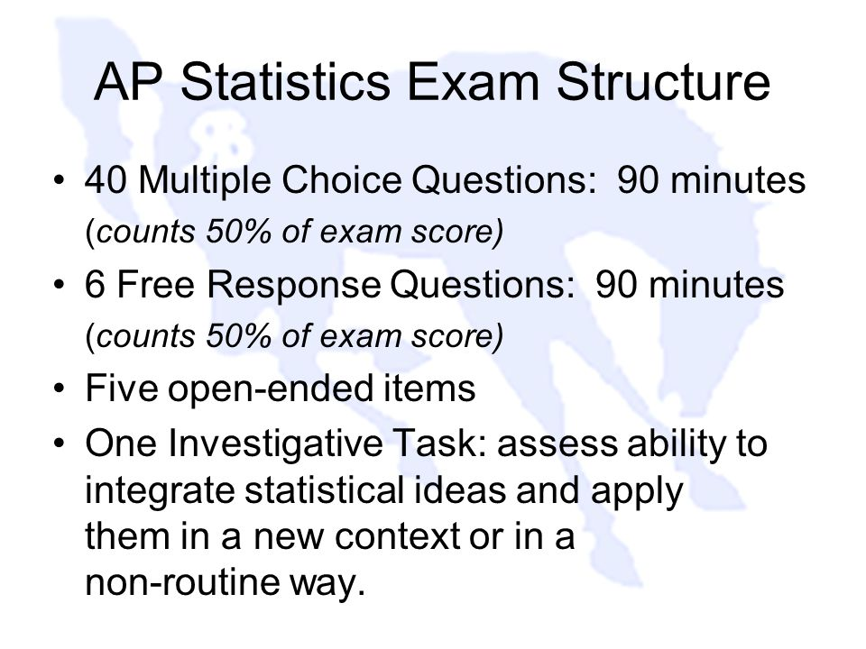 AP Statistics Exam Structure 40 Multiple Choice Questions: 90 minutes (counts 50% of exam score) 6 Free Response Questions: 90 minutes (counts 50% of exam score) Five open-ended items One Investigative Task: assess ability to integrate statistical ideas and apply them in a new context or in a non-routine way.