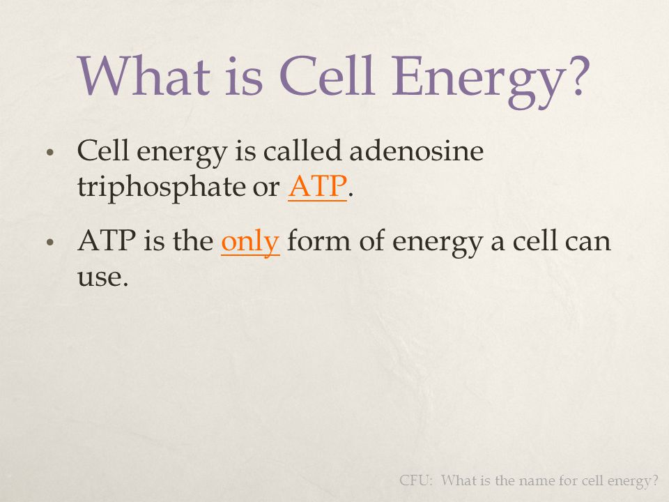 Cell energy is called adenosine triphosphate or ATP. ATP is the only form of energy a cell can use. What is Cell Energy? CFU: What is the name for cel