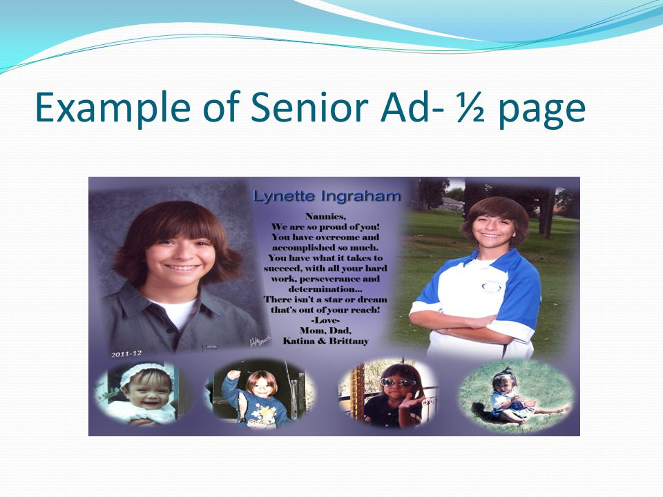 Example of Senior Ad- ½ page