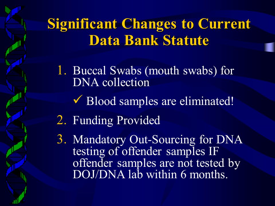 Significant Changes to Current Data Bank Statute 1.