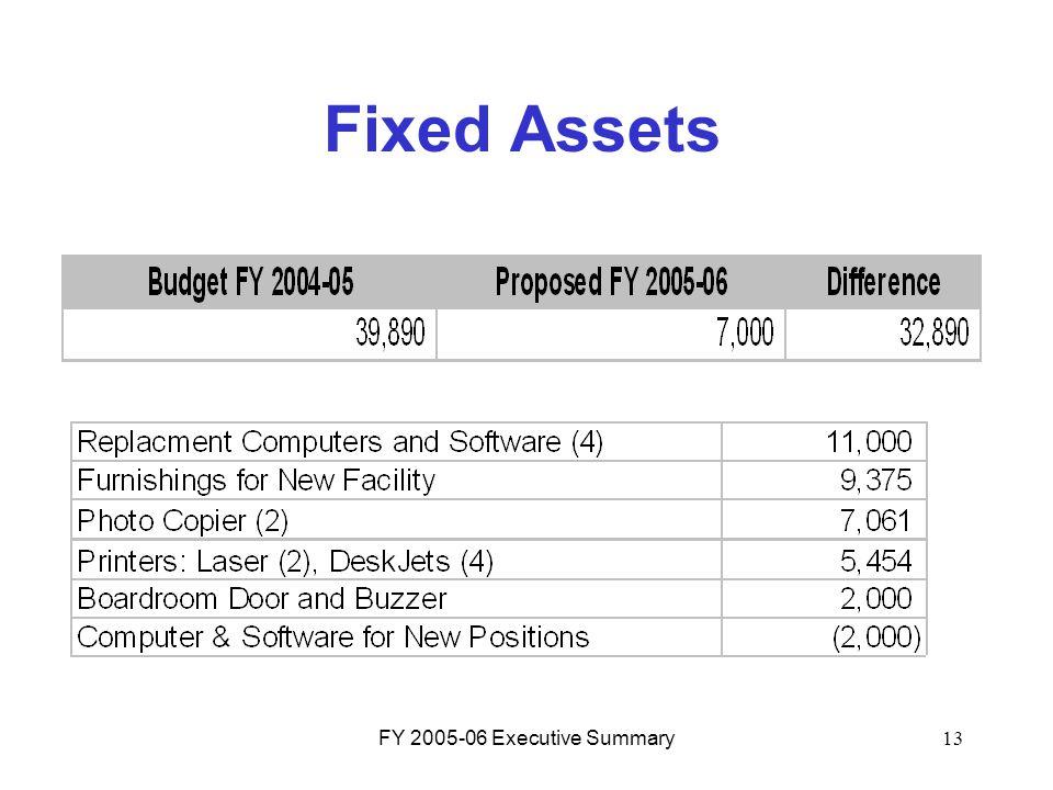 FY 2005-06 Executive Summary13 Fixed Assets