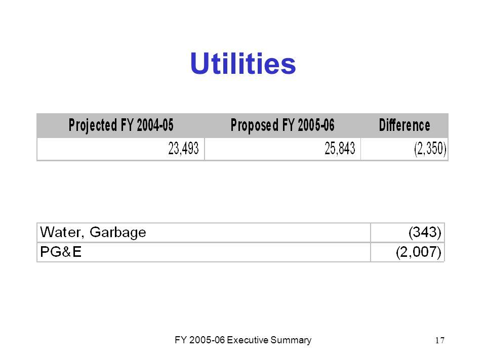 FY 2005-06 Executive Summary17 Utilities