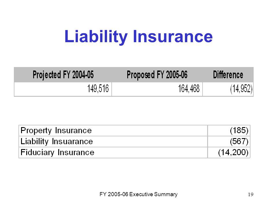 FY 2005-06 Executive Summary19 Liability Insurance