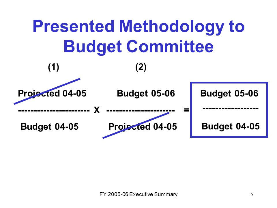 FY 2005-06 Executive Summary5 Projected 04-05 Budget 05-06 ----------------------- X ----------------------= Budget 04-05 Projected 04-05 Presented Me