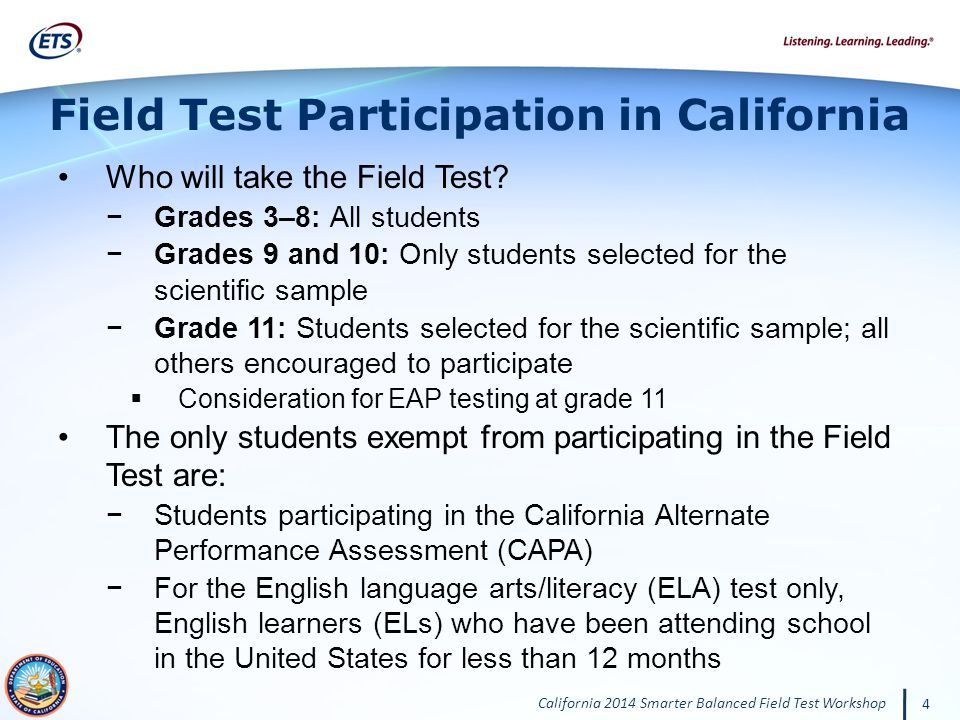 California 2014 Smarter Balanced Field Test Workshop 4 Who will take the Field Test.