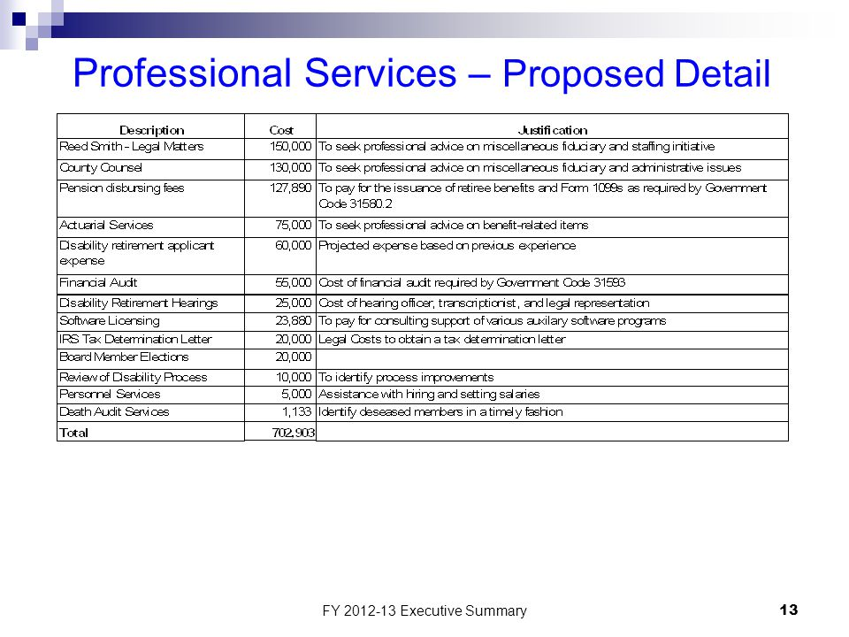 FY 2012-13 Executive Summary13 Professional Services – Proposed Detail