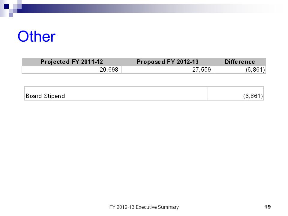 FY 2012-13 Executive Summary19 Other