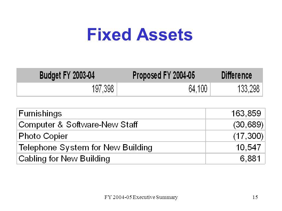 FY 2004-05 Executive Summary15 Fixed Assets