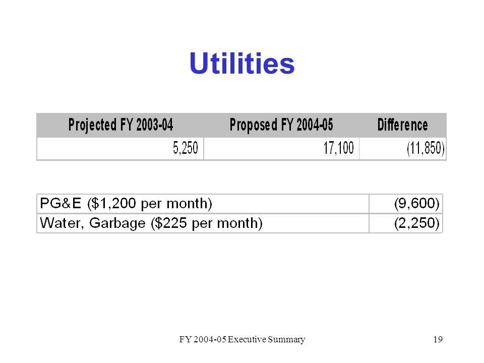 FY 2004-05 Executive Summary19 Utilities