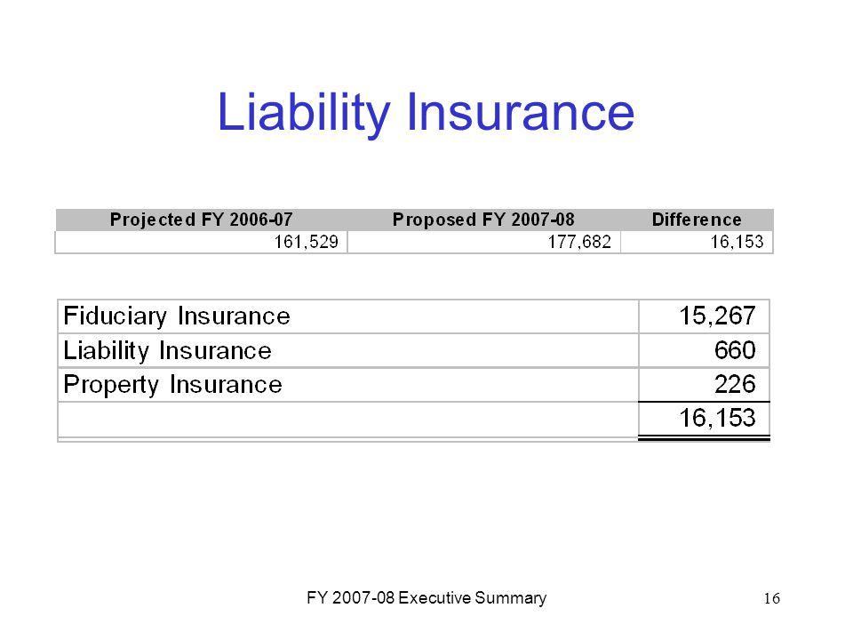 FY 2007-08 Executive Summary16 Liability Insurance