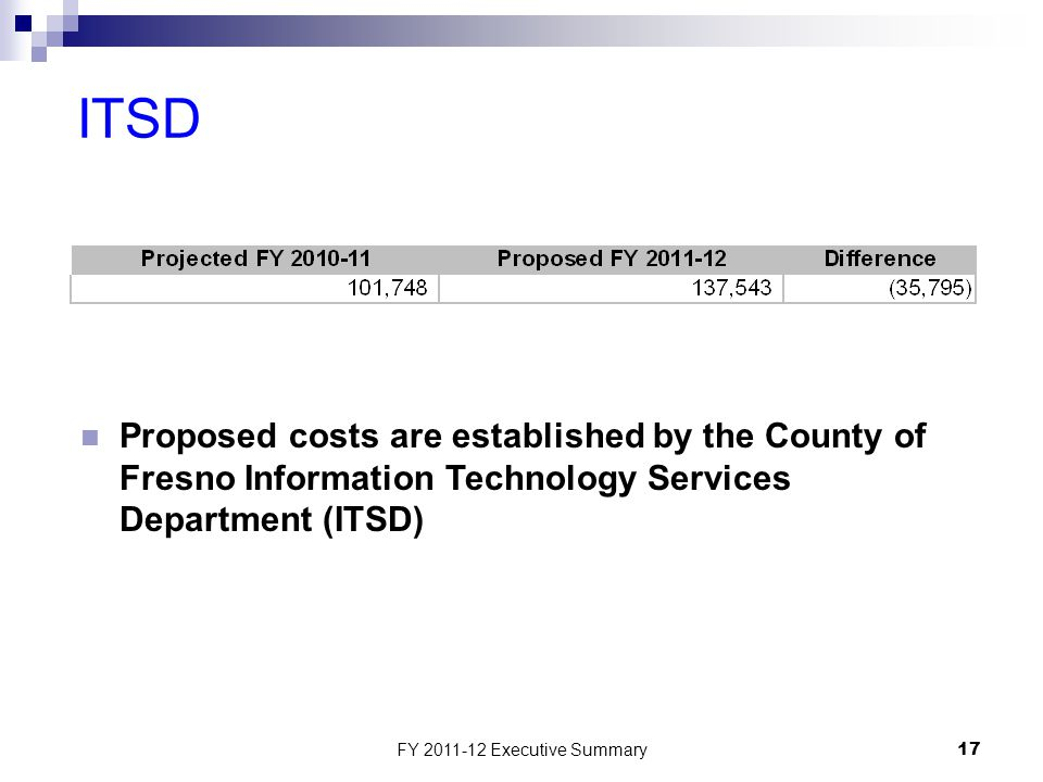 FY 2011-12 Executive Summary17 ITSD Proposed costs are established by the County of Fresno Information Technology Services Department (ITSD)