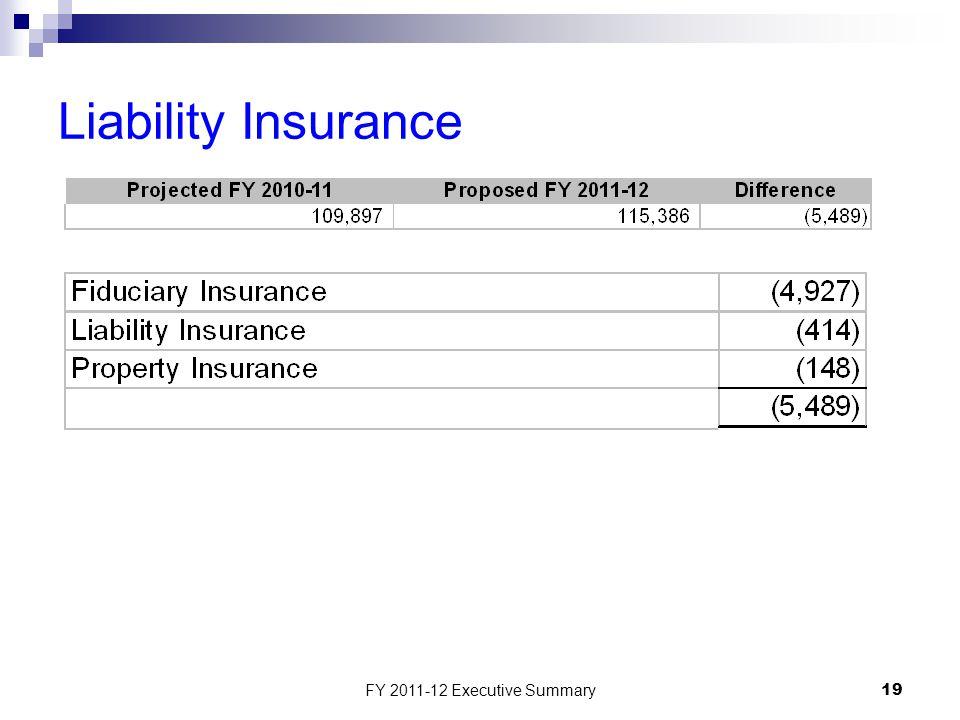 FY 2011-12 Executive Summary19 Liability Insurance