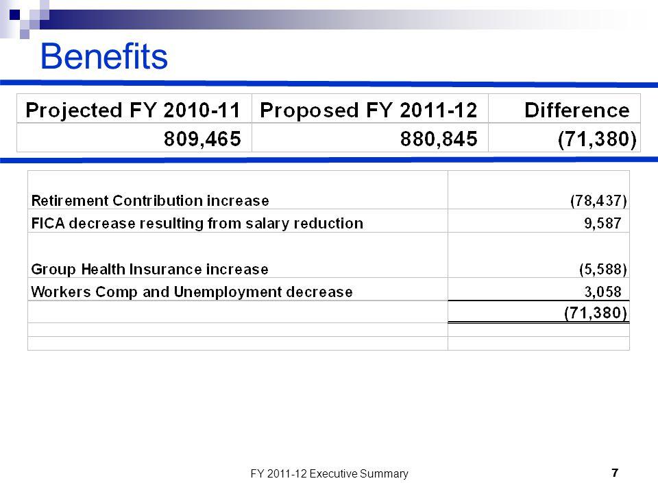 FY 2011-12 Executive Summary7 Benefits
