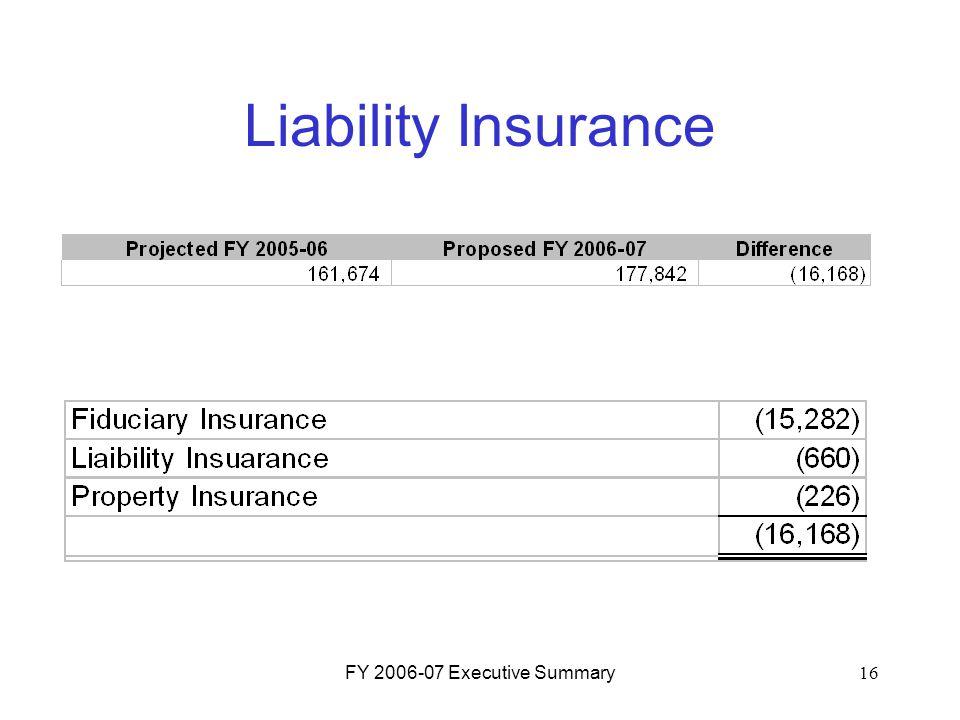 FY 2006-07 Executive Summary16 Liability Insurance