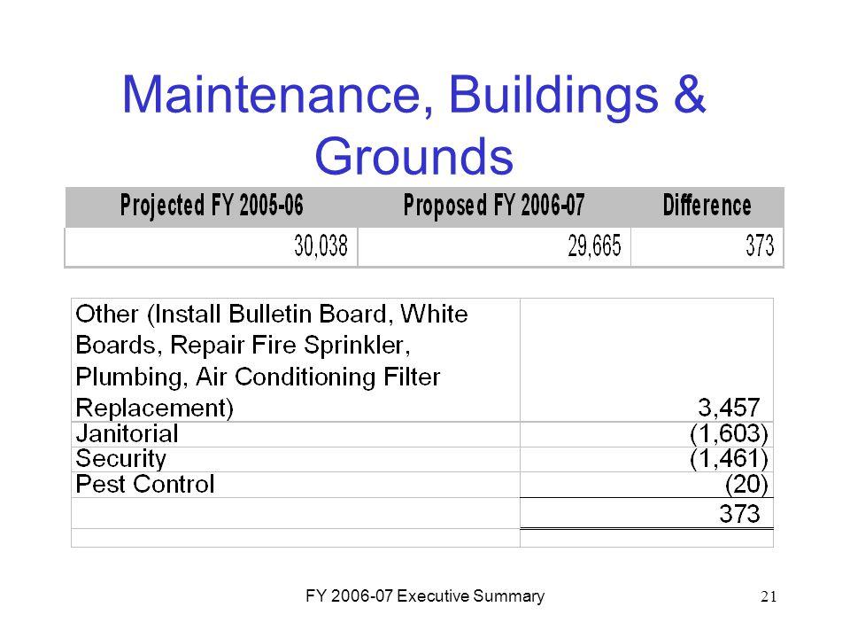 FY 2006-07 Executive Summary21 Maintenance, Buildings & Grounds