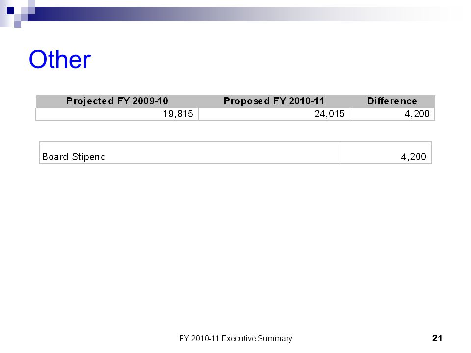 FY 2010-11 Executive Summary21 Other