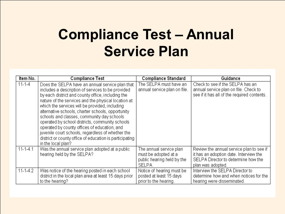 JACK O'CONNELL State Superintendent of Public Instruction Compliance Test – Annual Service Plan
