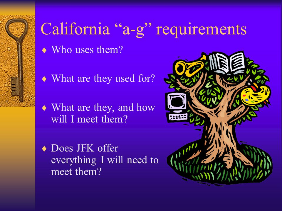 California a-g requirements  Who uses them.  What are they used for.