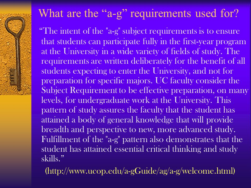 What are the a-g requirements used for.