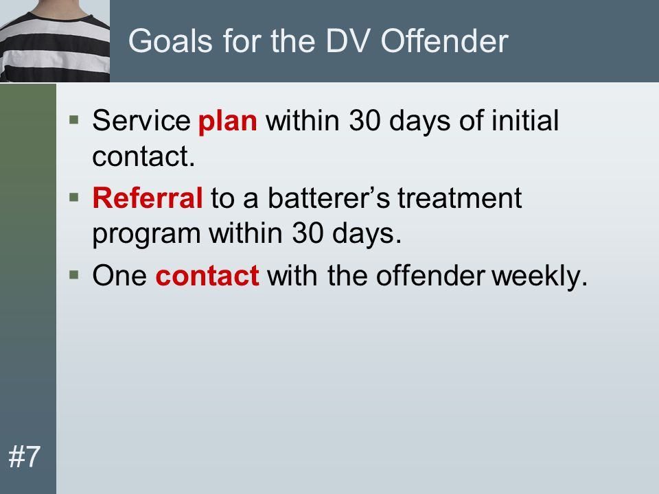 #7 Goals for the DV Offender  Service plan within 30 days of initial contact.