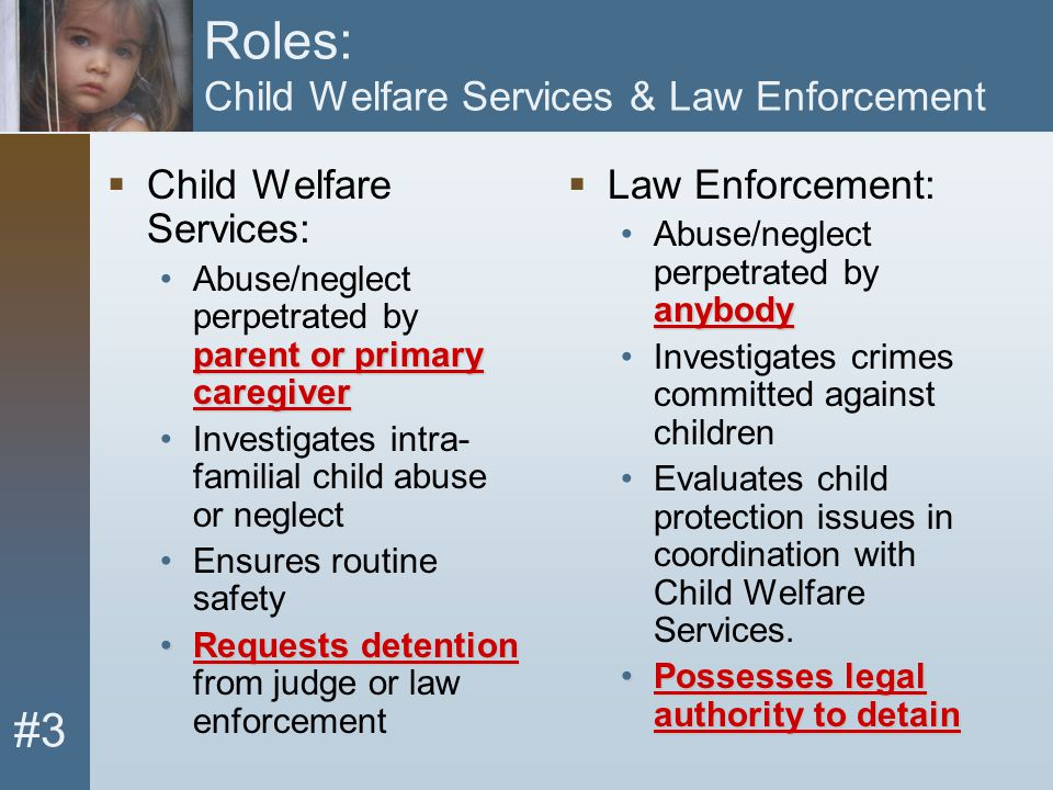 #3 Roles: Child Welfare Services & Law Enforcement  Child Welfare Services: parent or primary caregiverAbuse/neglect perpetrated by parent or primary