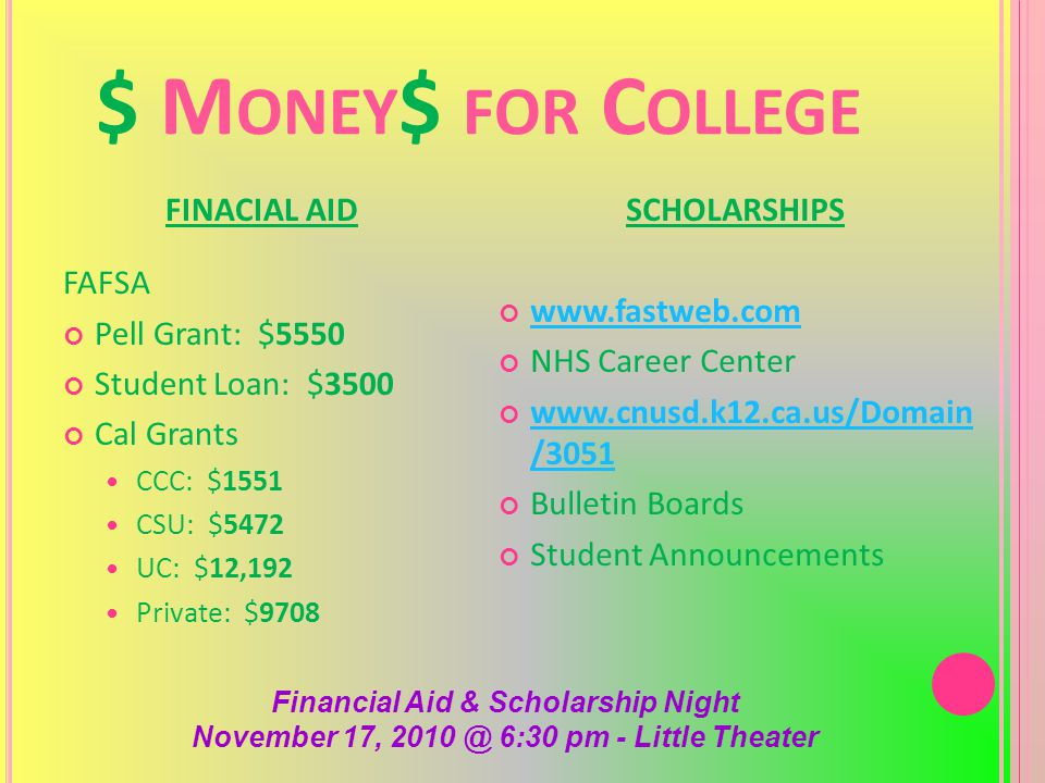 $ M ONEY $ FOR C OLLEGE FINACIAL AID FAFSA Pell Grant: $5550 Student Loan: $3500 Cal Grants CCC: $1551 CSU: $5472 UC: $12,192 Private: $9708 SCHOLARSHIPS www.fastweb.com NHS Career Center www.cnusd.k12.ca.us/Domain /3051 Bulletin Boards Student Announcements Financial Aid & Scholarship Night November 17, 2010 @ 6:30 pm - Little Theater