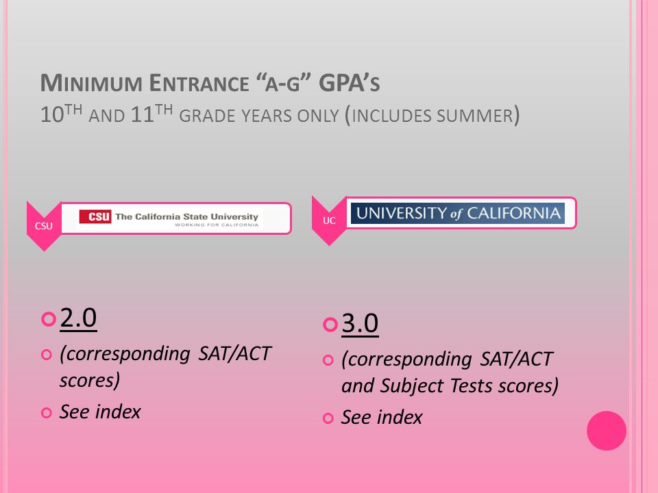 M INIMUM E NTRANCE A - G GPA' S 10 TH AND 11 TH GRADE YEARS ONLY ( INCLUDES SUMMER ) 2.0 (corresponding SAT/ACT scores) See index 3.0 (corresponding SAT/ACT and Subject Tests scores) See index CSUUC