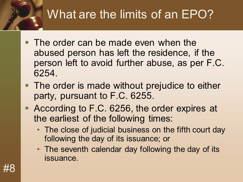 #8 What are the limits of an EPO.