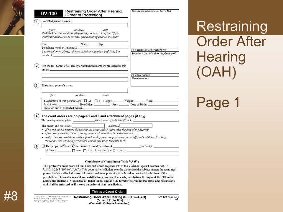 #8 Restraining Order After Hearing (OAH) Page 1