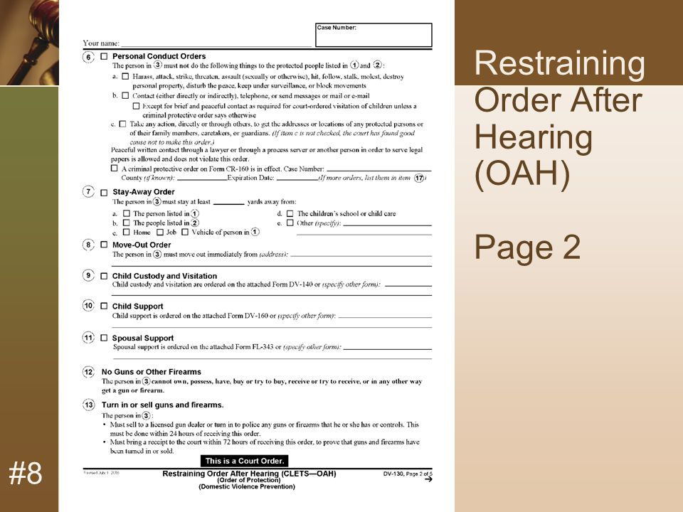 #8 Restraining Order After Hearing (OAH) Page 2