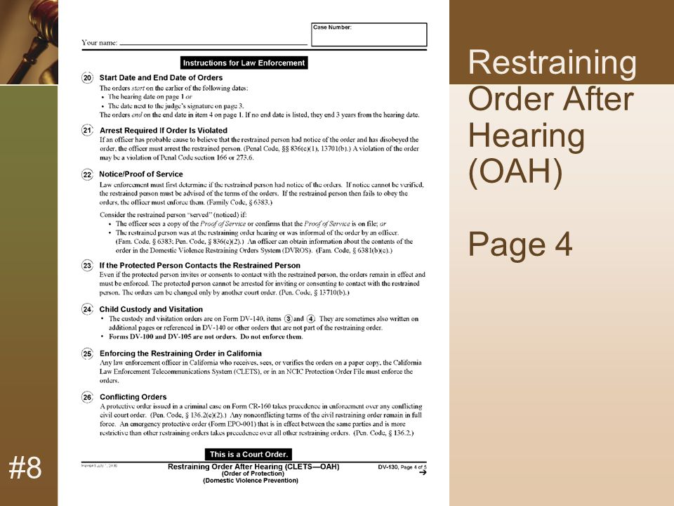 #8 Restraining Order After Hearing (OAH) Page 4