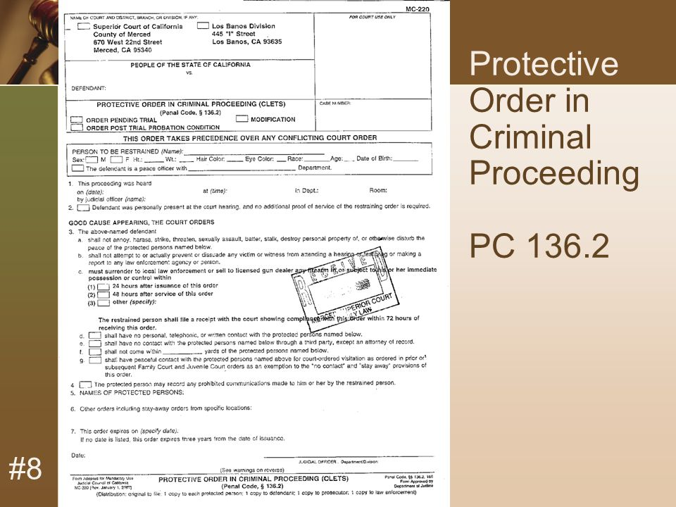 #8 Protective Order in Criminal Proceeding PC 136.2