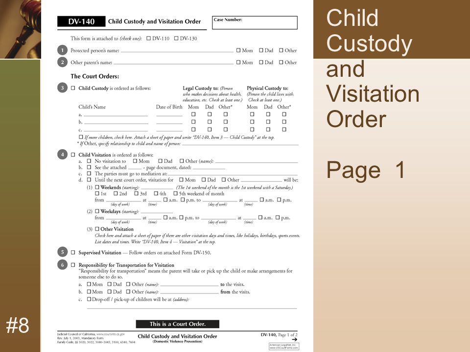 #8 Child Custody and Visitation Order Page 1
