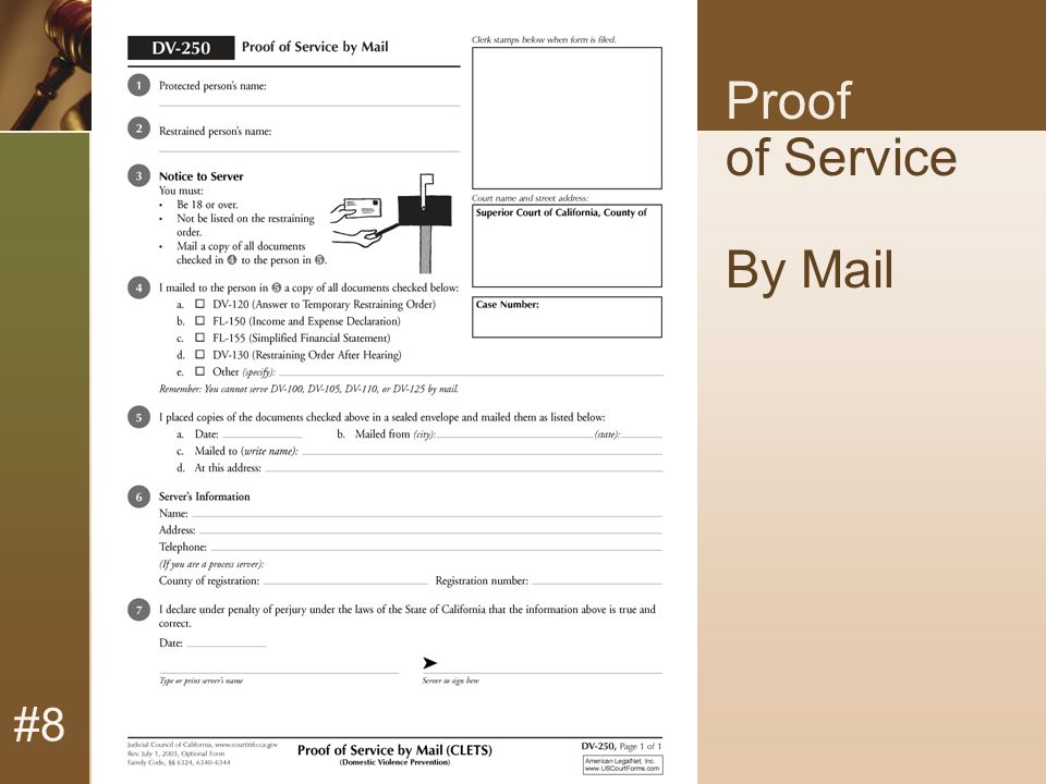 #8 Proof of Service By Mail