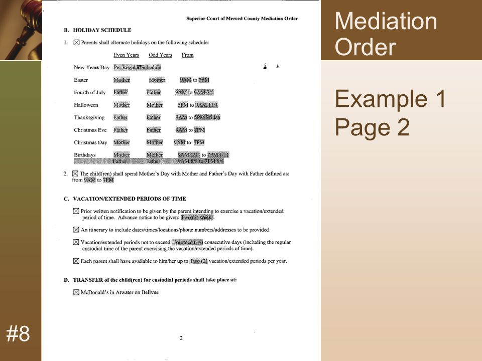 #8 Mediation Order Example 1 Page 2